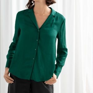 Green v neck button down blouse